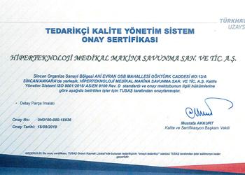 Türk Havacılık Uzan Sanayii Onaylı Tedarikçi Belgesi